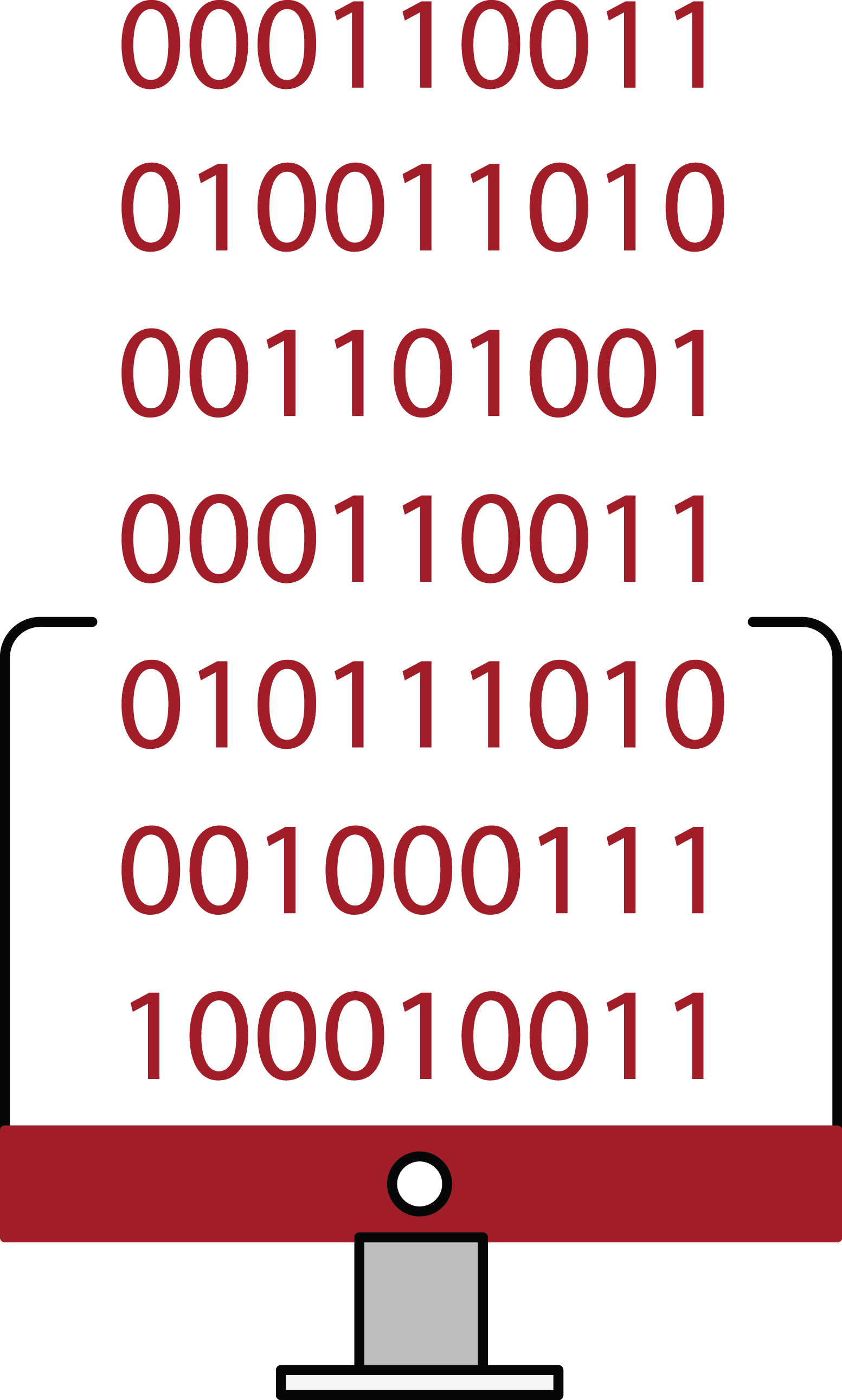 Computer with binary code logo