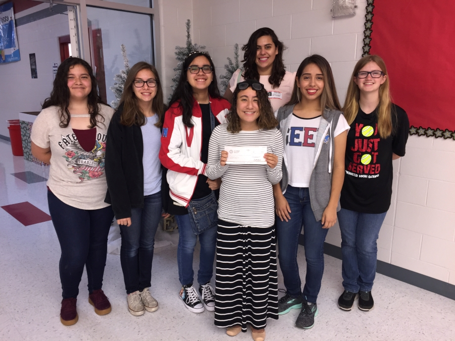 In the photo: (Left to right) Mr. James Heath (SPHS Principal), Maria Rangel, D.D. Peña, Alexa Perez-Lara, Cristina Garza (Mission EDC Program Director) & Mrs. Monica Campbell (sponsor).