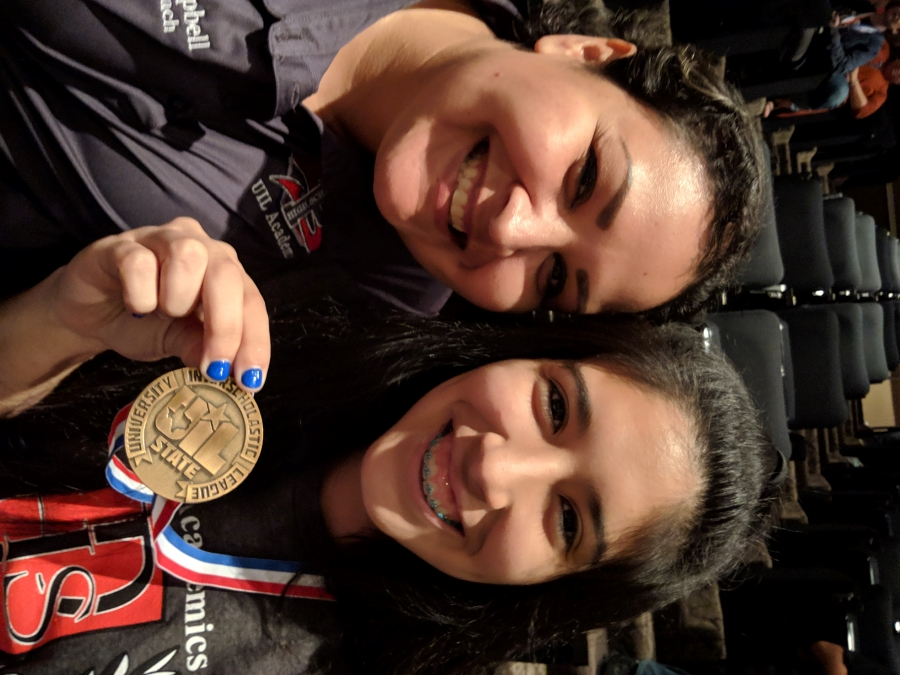 Coach Campbell and Klarissa Cantu at UIL State Meet