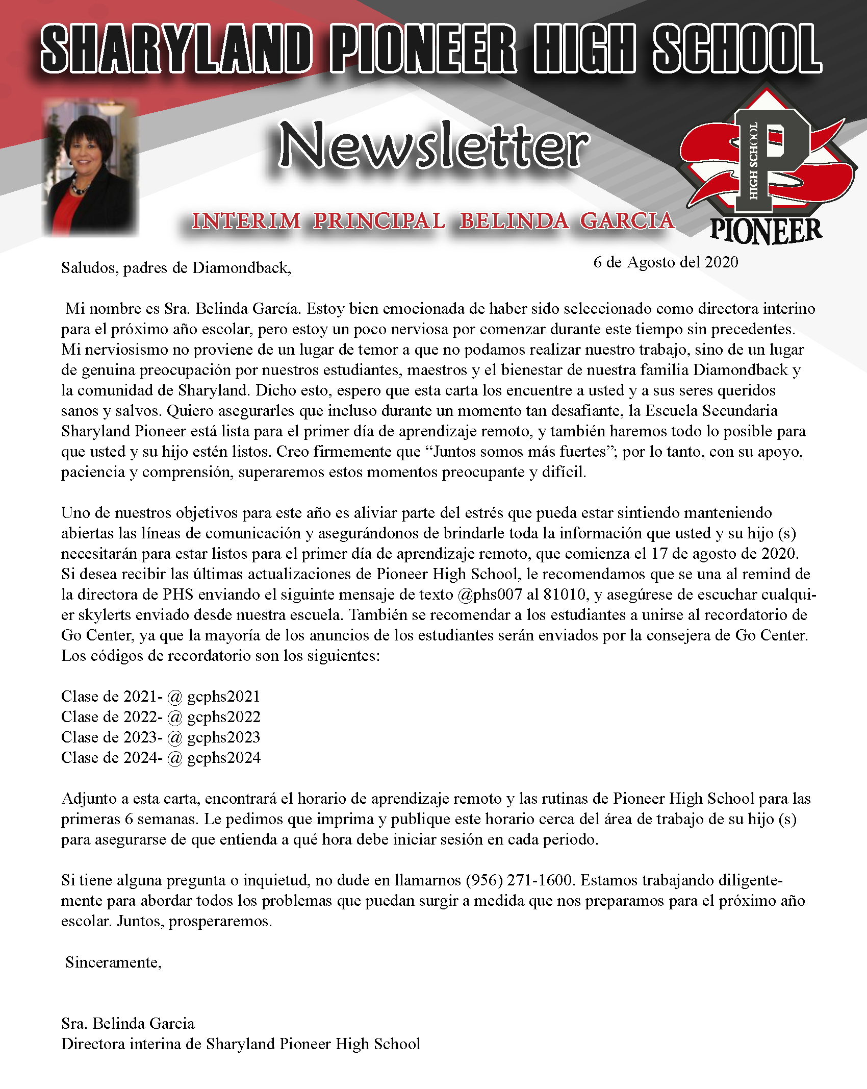 Newsletter August 2020 - Spanish